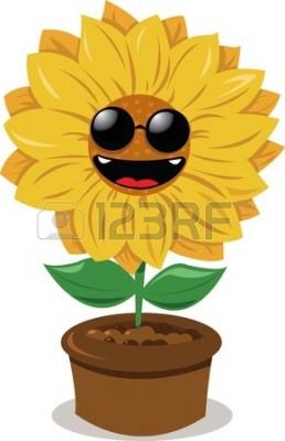 15628412-面白いひまわりサングラスと笑みを浮かべて